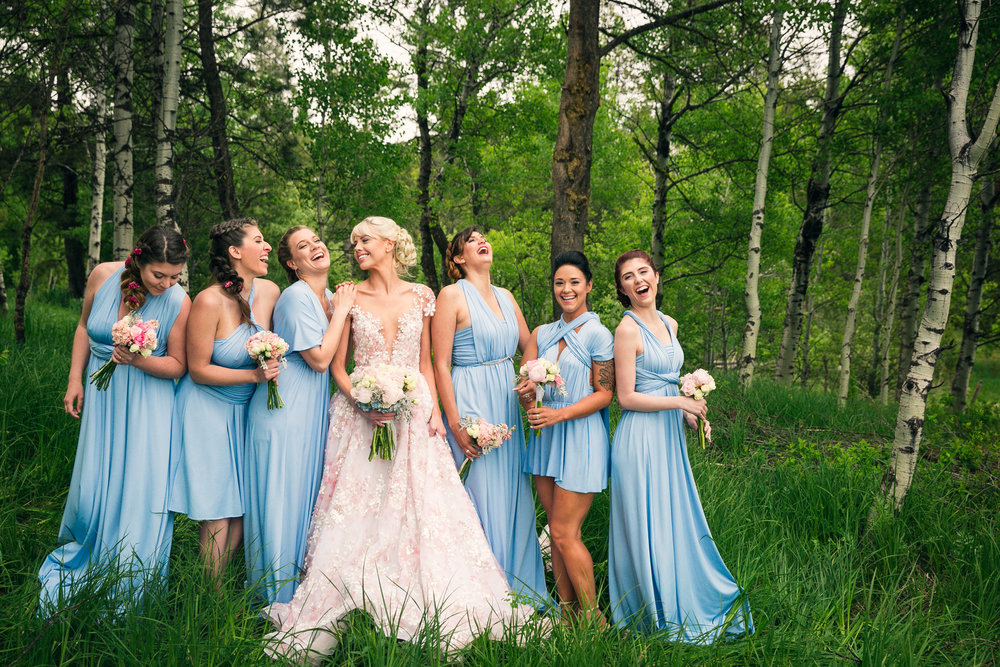 crazy bridesmaids laughing