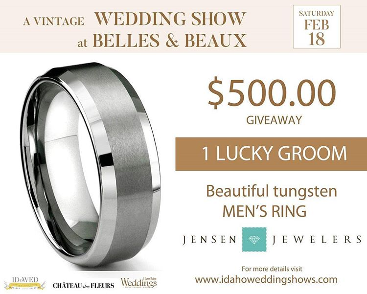 iloveboiseweddings$500 MEN'S RING GIVEAWAY at A VINTAGE WEDDING SHOW AT BELLES AND BEAUX. You are Engaged, he put a ring on it and you adore that new sparkle shining on your finger...but what about the ring for your groom to be? @jensenjewelers_nampa is giving away a beautiful tungsten men's ring valued around $500. Yes, you read it right! So be sure to come to the show and stop by their booth. Need to be present to win. WHO LOVES YA BABY? We are also giving some tickets away for the show. Please visit www.iloveboiseweddings.com enter your info and you may receive your daytime tickets in your email inbox! So hurry and sign up!! For more info about the show visit www.idahoweddingshows.com #idahobrides #idahowedding #idaho#idahoweddingplanner#idahoweddingvenue #idahobeauty#idahojewelers #idahome @idahowed#idahobridal #boisebridal #boise#boisebrides #boiseweddingvenue#boiseengagementphotographer#idahoweddingphotographer#idahoweddingshow #weddingshow#weddingdream #bridalstyle #giveaway