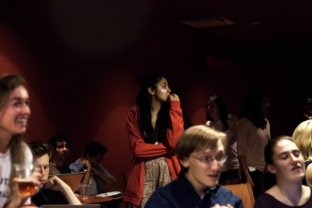 Students watch the CNN Election Night broadcast at Dom's Lounge at Pomona College on Nov. 8, 2016.