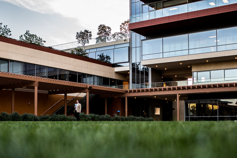 The Kravis Center at Claremont McKenna College, named for mega-donor Henry Kravis, who faced scrutiny from students for his large donations to the GOP and his closeness to Donald Trump, seen in March 2017.