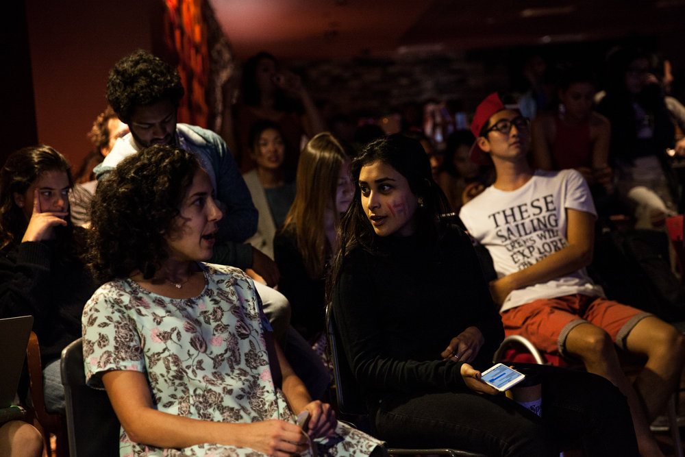 Pomona College students react to the CNN election night broadcast on Nov. 8, 2016.