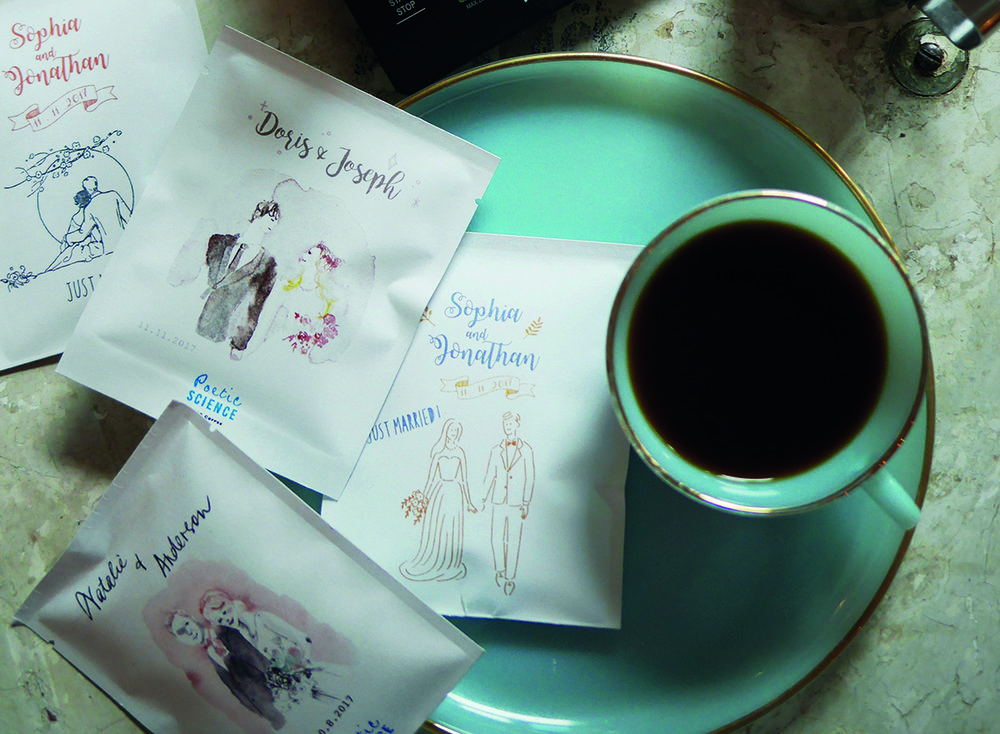 bespoke drip bagcoffee / tea gifts - with your name & illustration portrait drawing