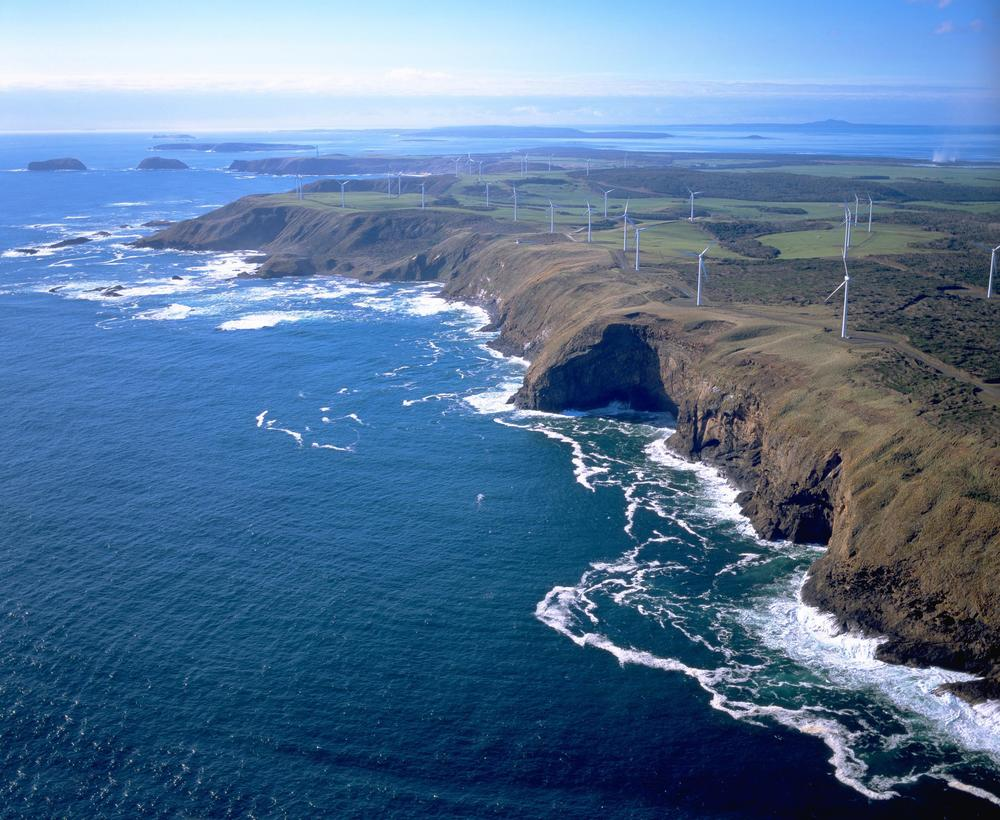 Figure 1. A coastal view of the 140 MW Woolnorth Wind Farm, located on the far north-west coast of Tasmania. Photo Credit: Roaring 40s