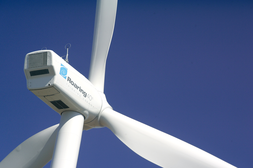 Figure 4. A close-up view of a wind turbine at the Woolnorth wind farm    Photo Credit: Roaring 40s.