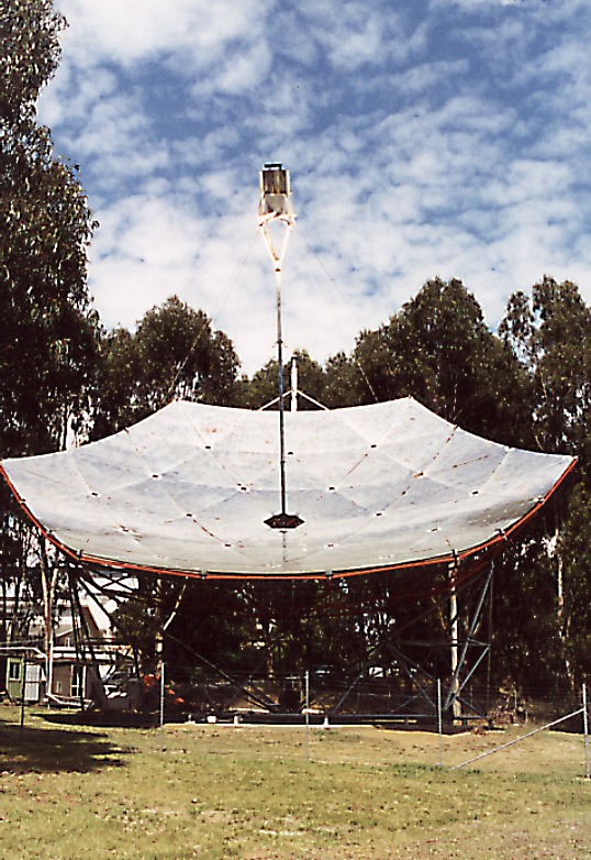 Figure 6: This mirror dish increases the intensity of light falling on the solar cells.