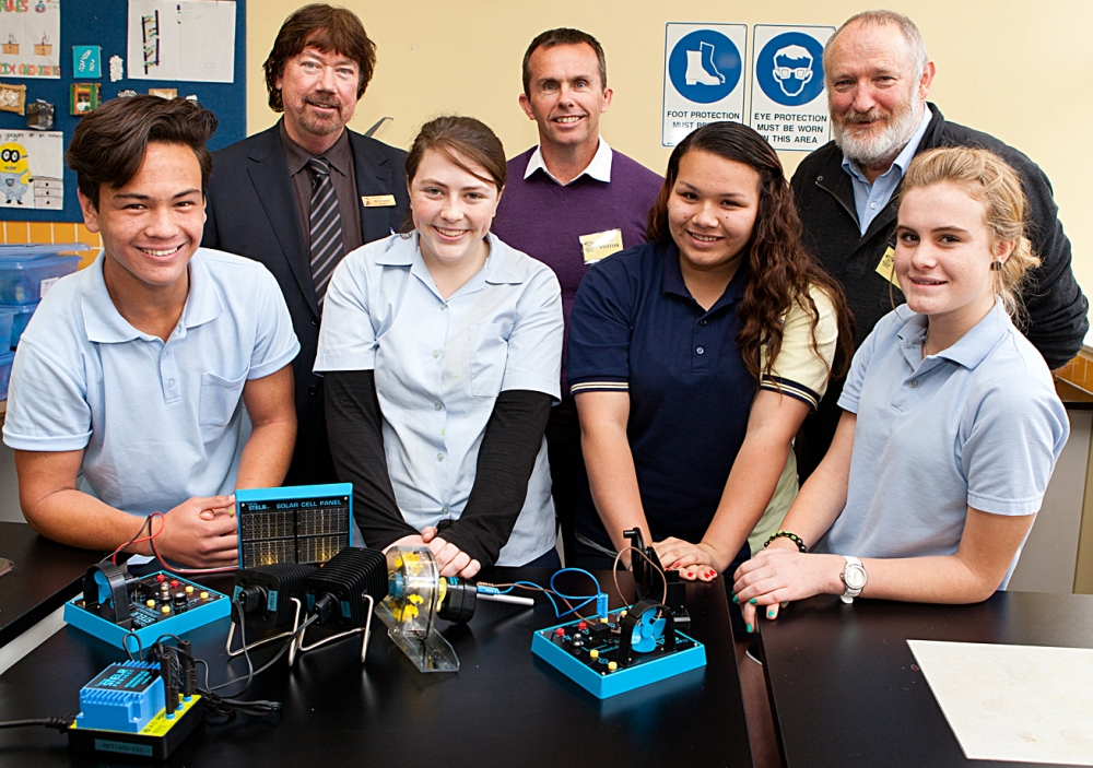 HANDS ON: Kurri High School students Peter Gardner, Melissa Hickey, Teoni Butler and Jasmine Campbell with principal David Hunter, General Manager Kooragang Island Greg Holmes and STELR Project Manager Peter Pentland.