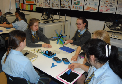 Students undertaking a wind energy investigation using the equipment in the STELR renewable energy kit.