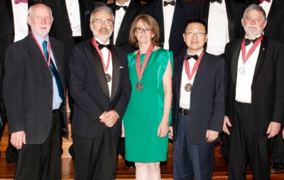 2015 Clunies ross awards winners. From left to right: MR kEITH lESLIE, aSSOCIATE PROFESSOR lEIGH wARD, dR cATHY fOLEY, pROFESSOR zHIGOU YUAN AND aSSOCIATE pROFESSOR jIM pATRICK.