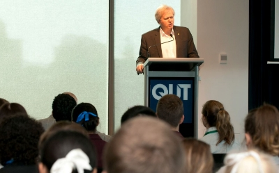 Professor Brian Schmidt addressing the students and teachers