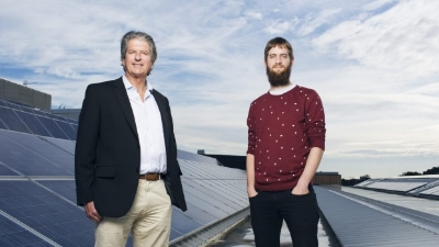Professor Martin Green FTSE and PhD student Mattias Juhl (right) at UNSW's School of Photovoltaic and Renewable Energy Engineering. Photo: James Brickwood