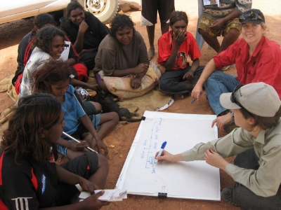 Marteena McKenzie undertaking community energy planning with the women of Nguyarramini, southeast of Tennant Creek, in the NT 2011