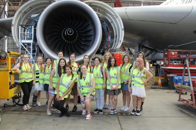 UNSW Women in Engineering Camp participants visit the Qantas Engineering and Maintenance facility in Sydney