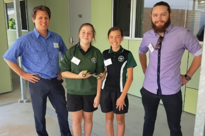 Park Ridge SHS Head of Science, Ross Bradford, with students Lorrelai and Emma and API Bursary holder, Steven Bickley, who assisted students to deign and build their cars.