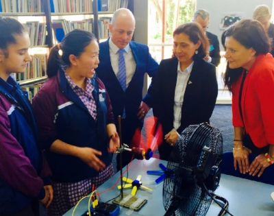 Patterson River Secondary College students demonstrating STELR equipment to Principal, Daniel Dew, Minister Lily D' Ambrosio and Member for Carrum, Sonya Kilkenny .