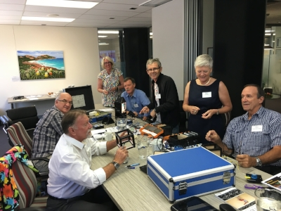 Pictured here discussing the STELR Sustainable Housing kits are (L to R) Greg Smith , Geoff Lewis, Pennie Stoyles, Tony Diercks, Ken Walker, Deb Smith and John Christensen.