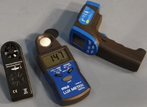 from l to r: STELR Anemometer, STELR Lux meter and STELR infra red thermometer