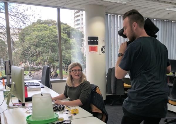 Filming Sarah at work