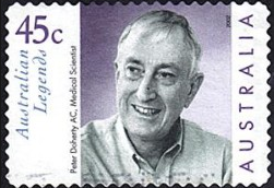 In 2002, Australia Post issues a stamp featuring Peter Doherty AC