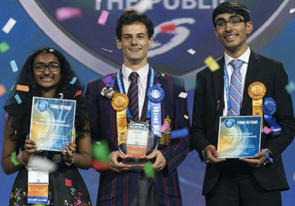 Meghana Bollimpalli, Oliver Nicholls, and Dhruvik Parikh won the top awards at the Intel ISEF 2018. PHOTO COURTESY OF SOCIETY FOR SCIENCE & THE PUBLIC/CHRIS AYERS PHOTOGRAPHY.