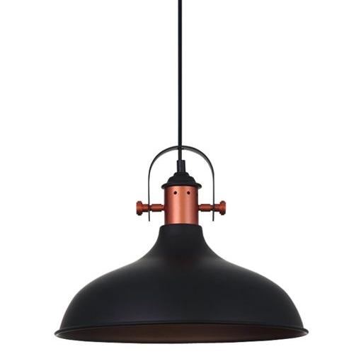 NARVIK E27 pendant Black dome with copper trim