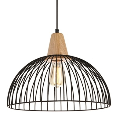 STRAND E27 pendant Iron cage with wood trim