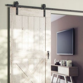 Sliding Barn Door Track System - Open Square Rail Timber 150