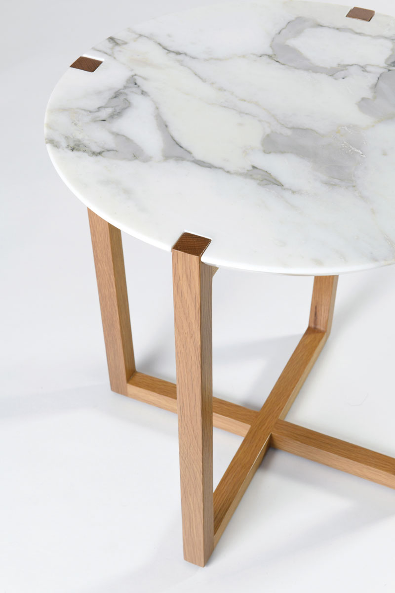 Markham side table: solid American Oak base with Calacatta marble top