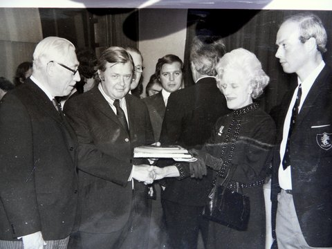 Len (second from the left) making a presentation to the wife of the deputy leader of the GLC at a reception in County Hall (now the London Aquarium) to welcome the visiting teams to the European Championship Prelim. round at Crystal Palace in 1971.