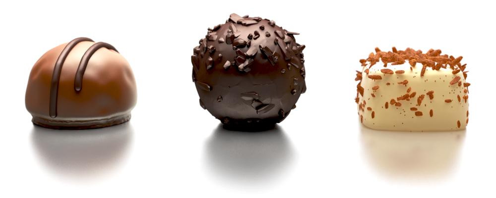 Handgemachte Pralinen - allerdings nicht von einem Chocolatier, sondern digital kreiert von generation y. In High End 3D. Zum Geniessen.