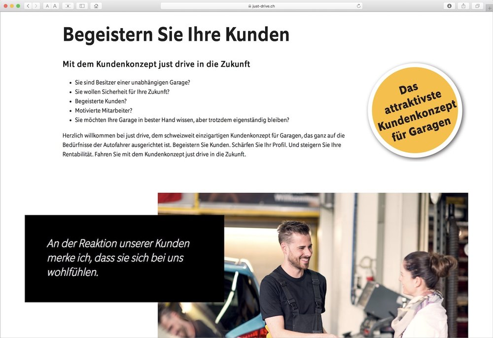 just drive Website  für Garagisten