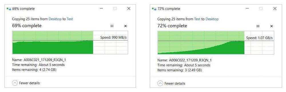 Real-world Szenario: Kopieren von 10GB Arri Alexa Footage auf einer Windows 10 Workstation.