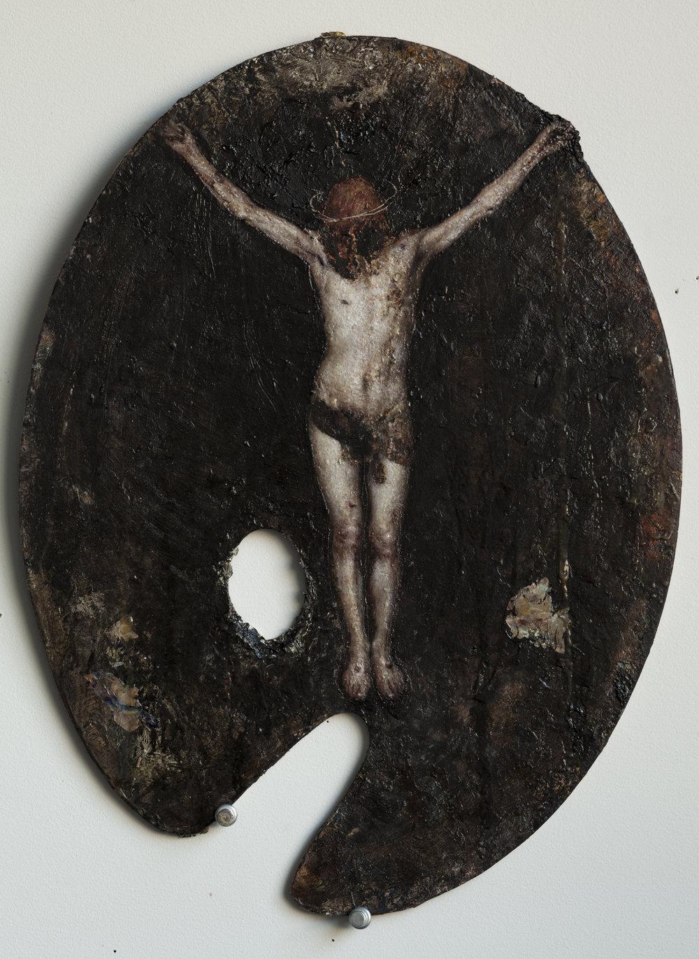 a hanging flesh (after Velazquez)  oil on palette  2016