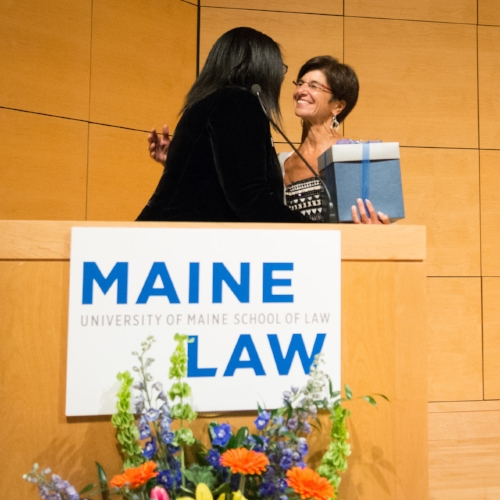 "Receiving the "" Courage is Contagious "" Award by Maine Law Dean, Danielle Conway at the 2016 JFW Lecture."
