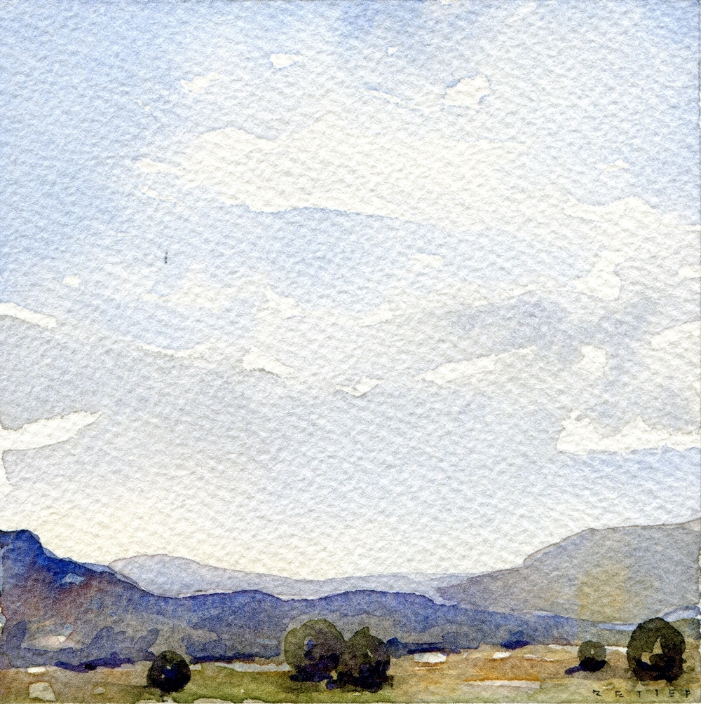 "Northern New Mexico Inspired 2   Small (4""x4"") watercolor on paper"