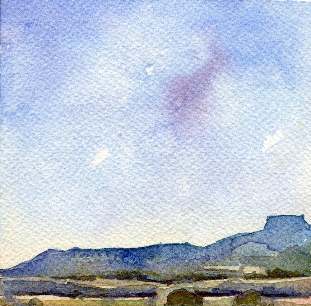 "Northern New Mexico Inspired 4   Small (4""x4"") Watercolor on Paper"