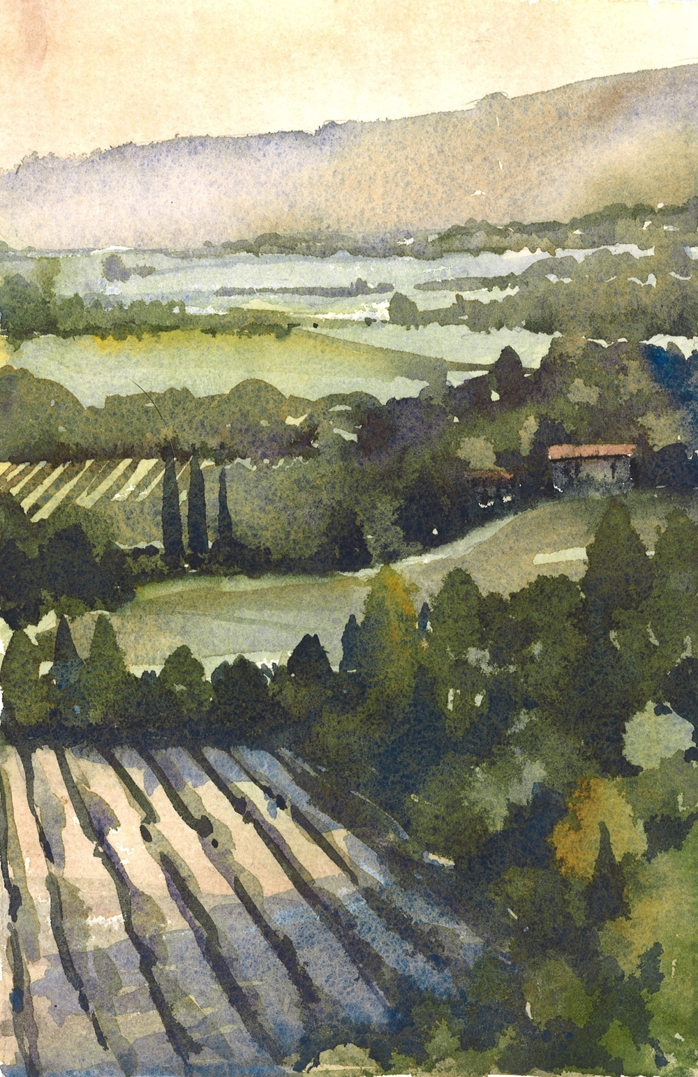 Venasque valley, Provence (2014)   (Using a painting by Iain Stewart as a guide)