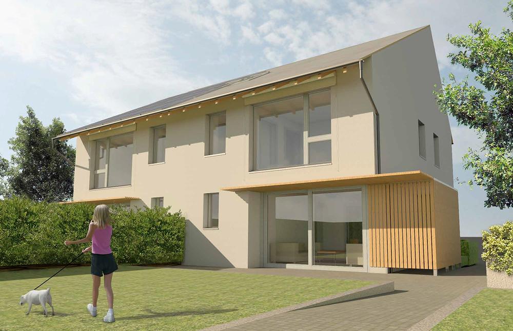 Visualisation of the Adaptiv Passivhaus; Image courtesy of Prewett Bizley Architects.