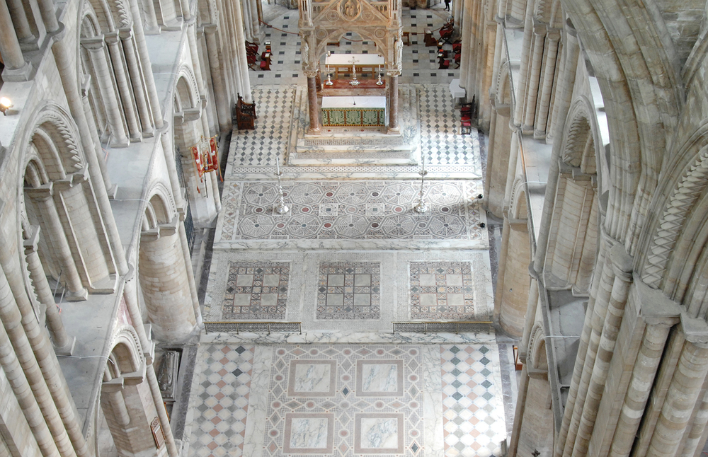 Mosaic floor of Peterborough Cathedral seen from above. © Rachael Marshall 2012.