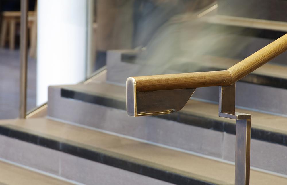 Detail of handrail at Shakespeare's Globe, London. © Rachael Marshall, 2014.