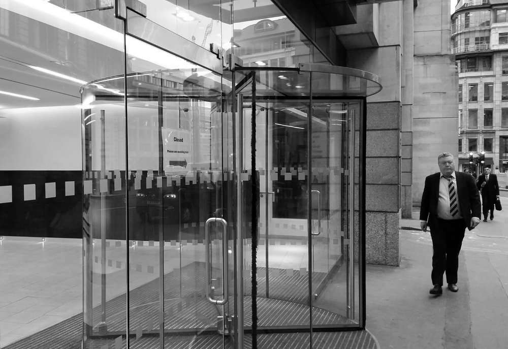 Revolving door in the city of London
