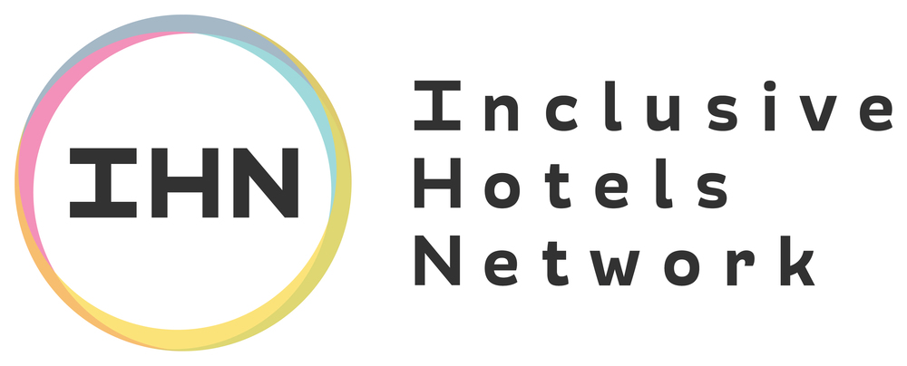Logo of the Inclusive Hotels Network: multicoloured circle around 'IHN' text in black, with 'Inclusive Hotels Network' to the right.