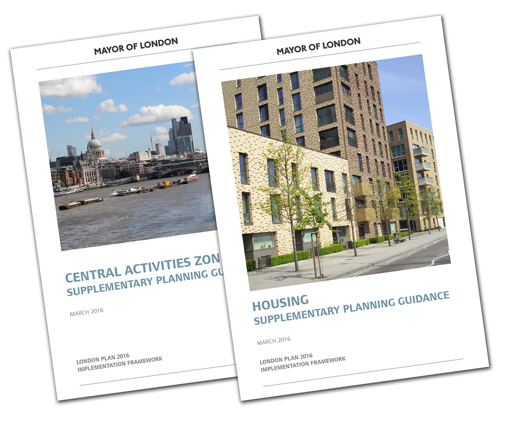 Covers of Central Activities Zone and Housing supplementary planning guidance documents.