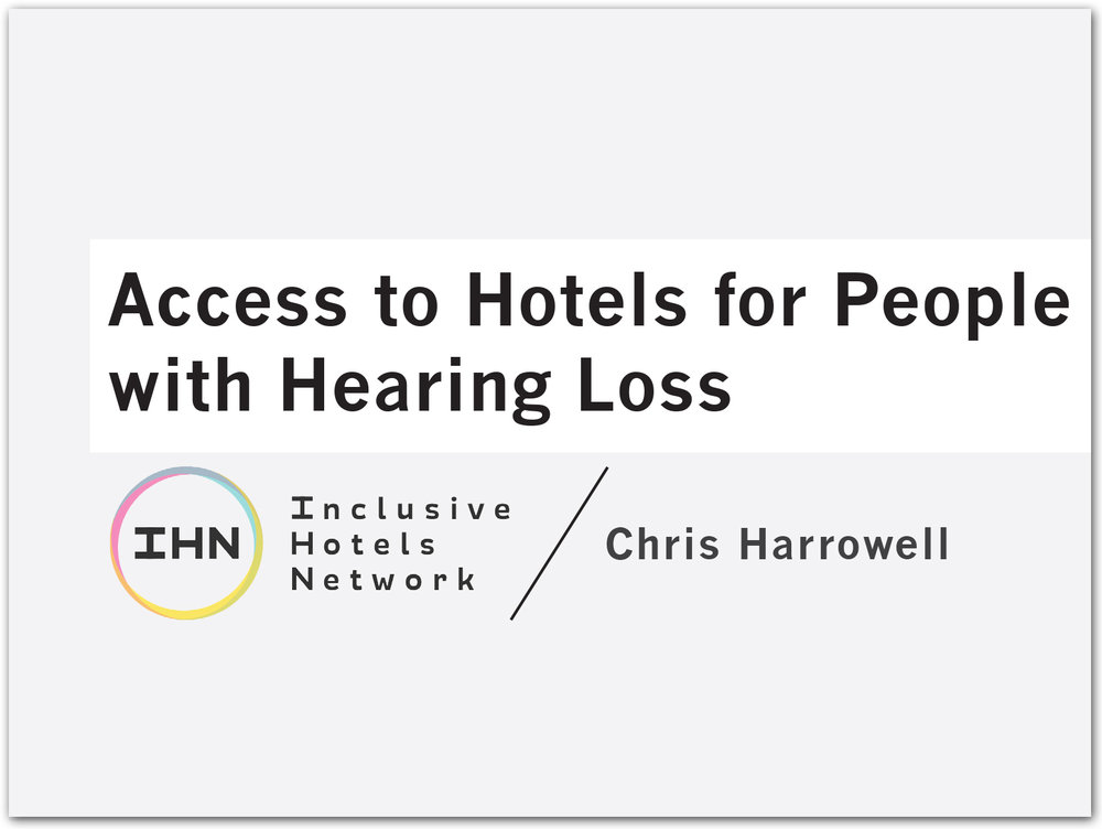 Title of Access to Hotels for People with Hearing Loss document with IHN logo.