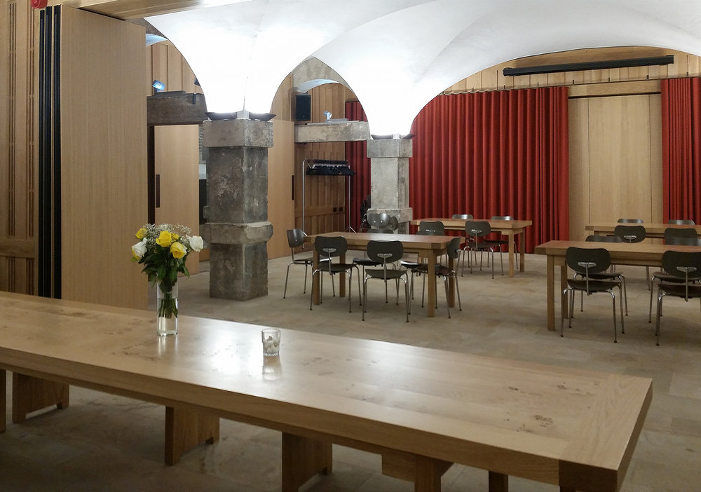 Interior of cafe at Christchurch Spitalfields Crypt.