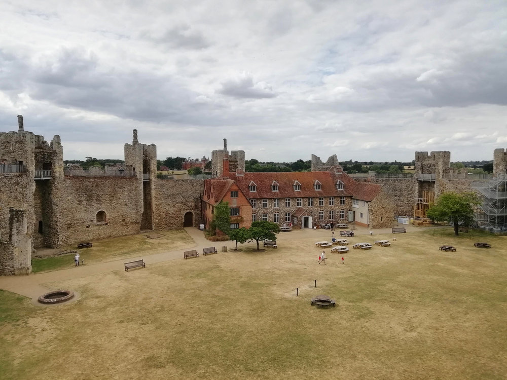 View of Framlingham Castle Workhouse and curtain walls. © Rachael Marshall 2018.