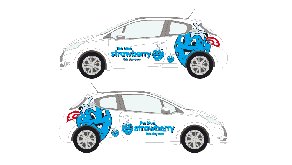 Blue Strawberry Vehicle Graphics