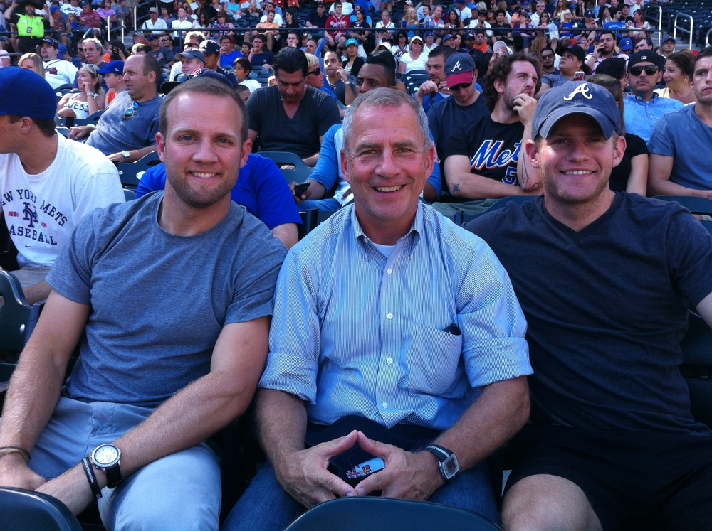 Surprised by my two sons (Michael on the left and David on the right) in NY at Chipper Jones' last game vs. the NY Mets...