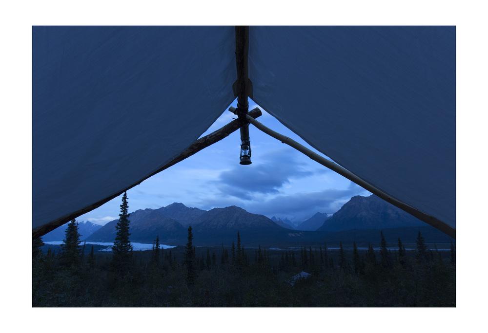 Tent with a view of the Matanuska Glacier. Glacier View, Alaska.