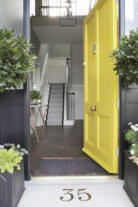 Front door colour from Little Greene Paints : Mister David   Terrazzo floor with the house number inset in brass