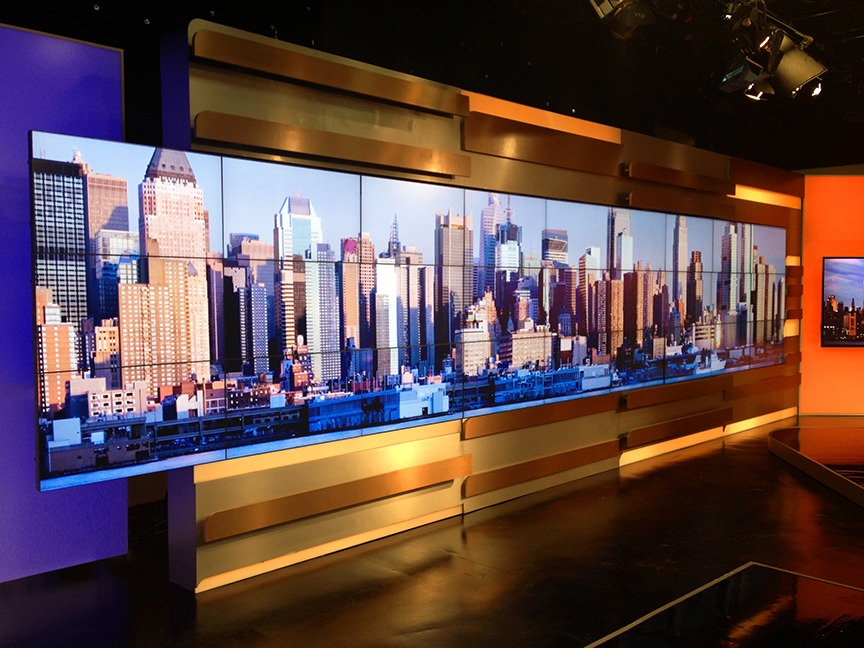 ARISE NEWS New York Bureau.  New entertainment set installation and launch.  View of media shoot-off wall.